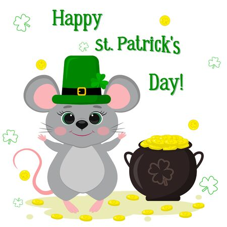 Postcard to the day of St. Patrick. A cute gray mouse in a green hat, a dwarf stands and raised his paws, a bowler with gold coins, a clover. Cartoon style, flat design. Vector illustration.