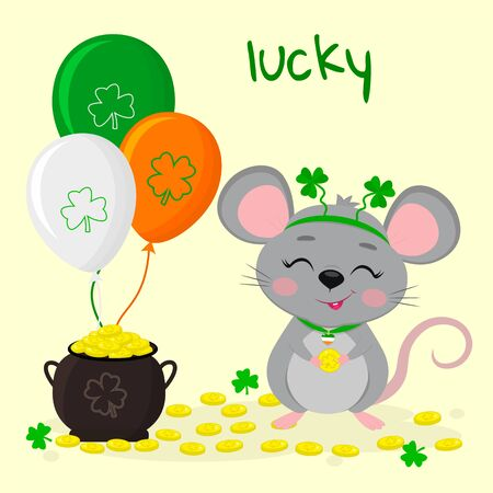 Postcard to the day of St. Patrick. A cute gray mouse in a rim with clover stands and holds a coin in its paws, a pot of gold coins, three balls. Cartoon style, flat design. Vector.