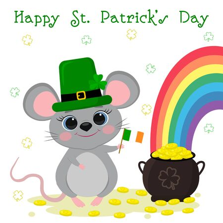 Postcard to the day of St. Patrick. Cute gray mouse in a green hat stands and holds the flag of Ireland, bowler hat with gold coins, rainbow. Cartoon style, flat design. Vector illustration.