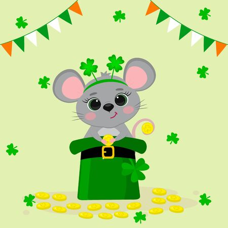 Postcard to the day of St. Patrick. A cute gray mouse in a rim with clover, sitting in a green hat and holding a gold coin. Cartoon style, flat design. Vector illustration. Illustration