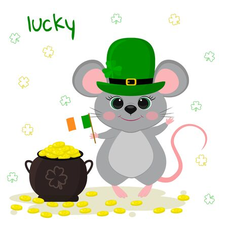 Postcard to the day of St. Patrick. Cute gray mouse in a green leprechaun hat, holds the flag of Ireland, bowler hat with gold coins. Cartoon style, flat design. Vector illustration.