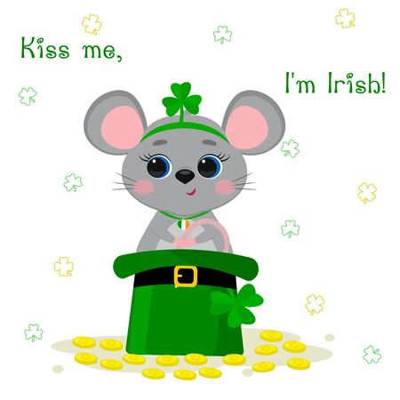 Postcard to the day of St. Patrick. Cute gray mouse in a rim with clover and medallions, sitting in a green hat, bowler hat and gold coins. Cartoon style, flat design. Vector illustration.