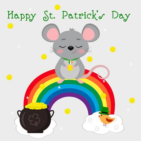Postcard to the day of St. Patrick. A cute gray mouse in a medallion stands on a rainbow and holds a gold coin, a bird in a gnome hat. Cartoon style, flat design. Vector.