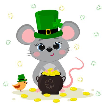 Postcard to the day of St. Patrick. Cute gray mouse in a green hat a dwarf holds a bowler hat with gold coins, a bird, a clover. Cartoon style, flat design. Vector illustration. Illustration