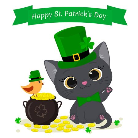 St.Patrick s Day greeting card. Cute gray kitten in a green hat leprechaun, bowler hat with gold coins and a bird in a green hat, a clover. Cartoon style, flat design. Vector.