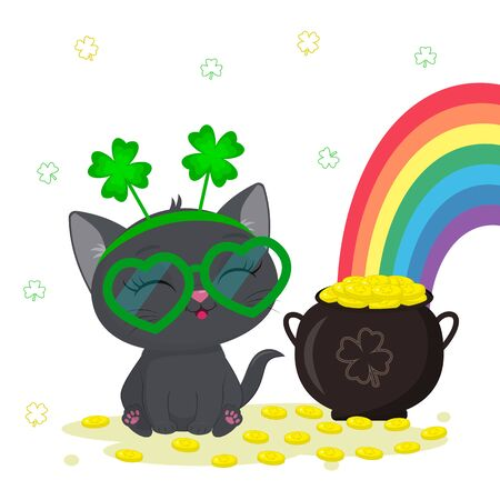St. Patrick s Day greeting card. Cute gray kitten in a rim of clover and glasses sitting, a bowler hat with gold coins, a rainbow. Cartoon style, flat design. Vector illustration. Banco de Imagens - 141784265