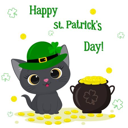 St. Patrick s Day greeting card. Cute gray kitten in a green leprechaun hat sitting, bowler hat with gold coins, clover. Cartoon style, flat design. Vector illustration.