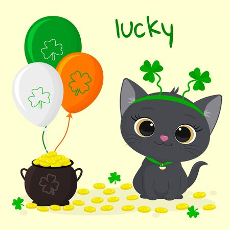 Postcard to the day of St. Patrick. Cute gray kitten rim with clover sitting, pot of gold coins, three balls. Cartoon style, flat design. Vector illustration.