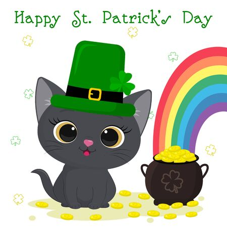 Postcard to the day of St. Patrick. Cute gray kitten in a green hat of leprechaun sitting, bowler with gold coins, rainbow. Cartoon style, flat design. Vector illustration. Zdjęcie Seryjne - 141784270