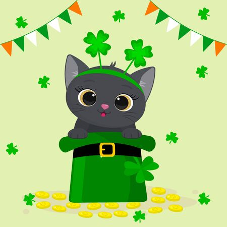 St. Patrick s Day greeting card. Cute gray cat in a rim with clover, sitting in a green hat, a dwarf, gold coins. Cartoon style, flat design. Vector illustration.