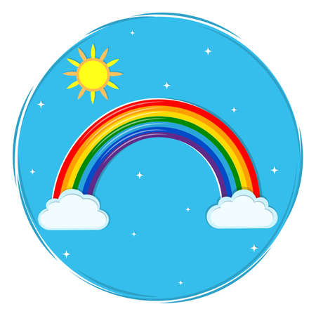 Round multicolored rainbow icon, shining stars, sun and clouds on a blue sky background. Vector illustration, cartoon style