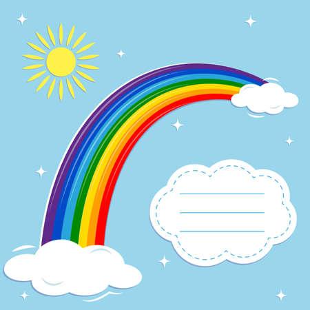 Multicolored rainbow , shining stars, sun and clouds on a blue sky background. Vector illustration, cartoon style Ilustração