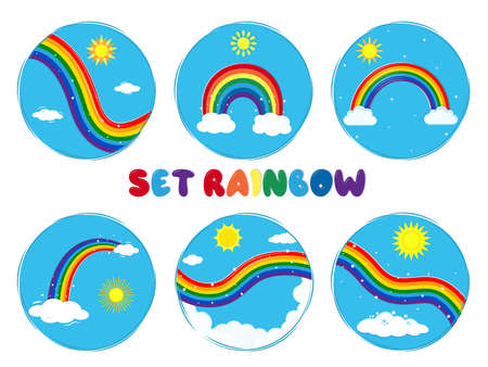 Set of six round multicolored rainbow icon, shining stars, sun and clouds on a blue sky background. Vector illustration, cartoon style