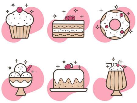 Vector set of six icons of sweet food in flat style. Cake, doughnut, milkshake, ice cream, cupcake