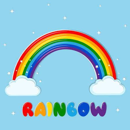 Rainbow multicolored and cloud icon, text drawn in letters on a blue sky background and stars. Vector illustration, cartoon style