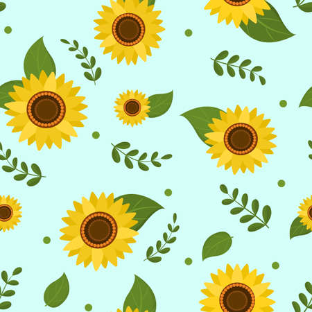 Seamless pattern of flowers of sunflower and green leaves on a light background, vector