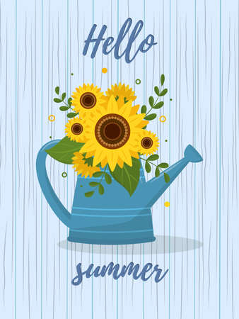 Postcard bouquet of sunflowers and leaves in a blue garden watering can against the background of wooden texture. Hello Summer. Vector