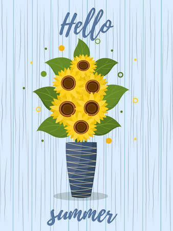 Postcard bouquet of sunflowers and leaves in vase for flowers on a wooden texture background. Hello summer. Vector Ilustração