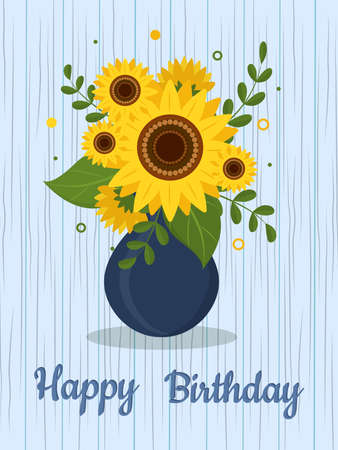 Postcard bouquet of sunflowers and leaves in vase for flowers on a wooden texture background. Happy Birthday. Vector