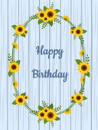 Frame of sunflowers and leaves, birthday card against the background of wooden texture. Vector