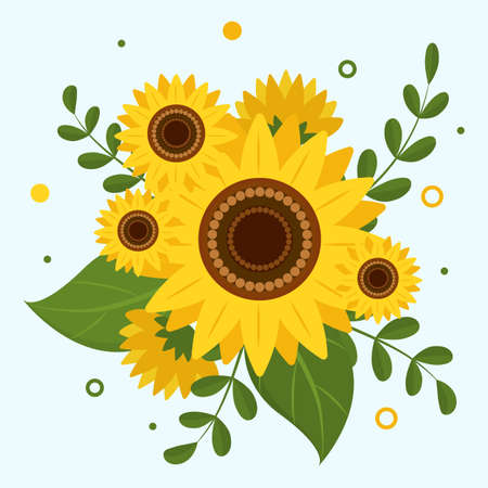 Sunflower and leaves bouquet flower arrangement isolated on white background. Vector illustration