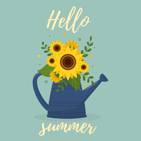 Postcard bouquet of sunflowers and leaves in a blue garden watering can against the green background . Hello Summer. Vector