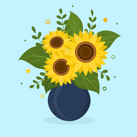 Postcard bouquet of sunflowers and leaves in blue vase for flowers on light background. Vector illustration