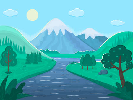 Landscape for product packaging. Snow mountains, river, holis, trees, sun, sky, clouds. Plants. Vector illustration