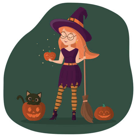 A nice girl in a witch costume stands and holds a broom and a pumpkin. Kitten sits in a pumpkin for Halloween. Vector illustration Ilustração