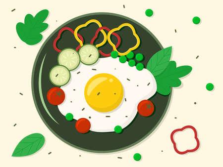 Breakfast scrambled eggs on a plate and vegetables. Vector illustration Ilustração