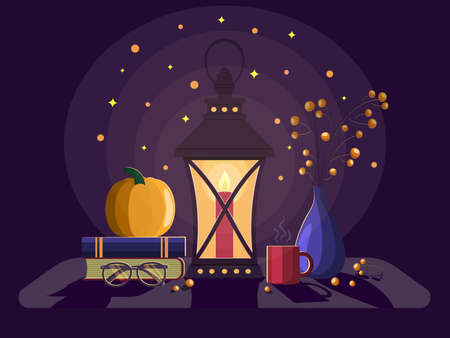 Evening still life. The lantern shines, a cup of coffee, books and glasses. A vase of berries. Vector illustration Ilustração