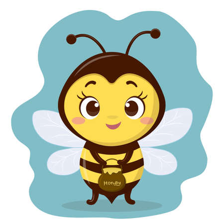The cute bee character holds a pot of honey. Cartoon style, vector