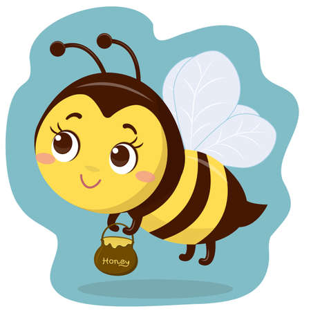 Cute character bee is flying and holding a pot of honey. Cartoon style, vector