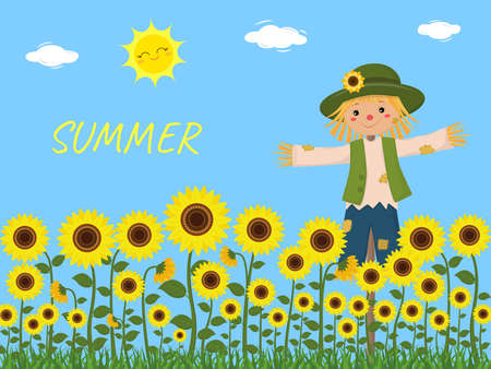 Sunflowers and a cute scarecrow, sky, sun, clouds. Vector illustration