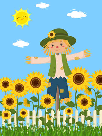 Sunflowers and a cute scarecrow, fence, grass, sky, sun, clouds. Vector illustration