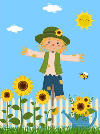 Sunflowers and a cute scarecrow, fence, grass, sky, sun, clouds, watering can, bee. Vector illustration