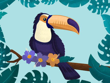 Toucan is a bright tropical bird on a background of flowers and leaves. Vector illustration.