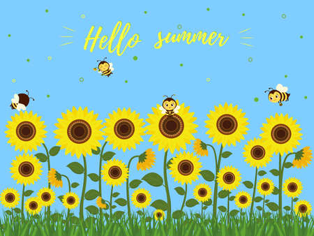 Hello summer postcard. Cute bees fly over sunflower flowers with green leaves. Blue sky and grass. Vector illustration. Ilustração