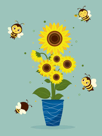 A bouquet of sunflowers in a blue vase and four cute bees on a green background. Vector illustration, cartoon style.