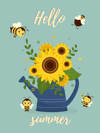 Postcard bouquet of sunflowers in a blue watering can and four cute bees on a green background. Vector illustration, cartoon style.