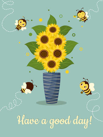 Postcard bouquet of sunflowers in a blue vase and four cute bees on a green background. Vector illustration, cartoon style.