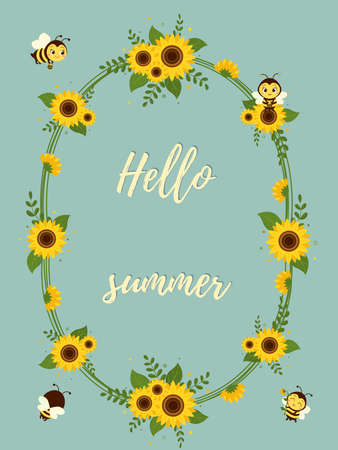Frame made of sunflowers, leaves and cute bees with honey. Greetings card Hello Summer. Vector. Ilustração
