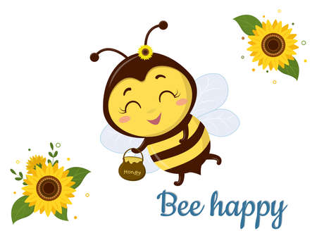 Character cute Honey bee with a pot of honey flies, sunflower flower and leaves on white background. Vector, cartoon style.