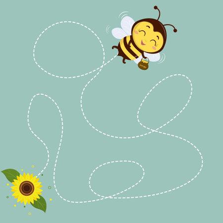Honey bee with a pot of honey flies, sunflower flower on green background. Vector, cartoon style. Ilustração
