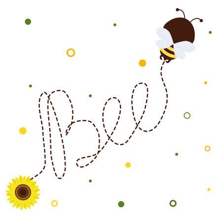 Honey bee with a pot of honey flies, sunflower flower on white background. Vector, cartoon style. Ilustração