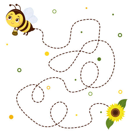 Honey bee with a pot of honey flies, sunflower flower and leaves on white background. Vector, cartoon style. Ilustração