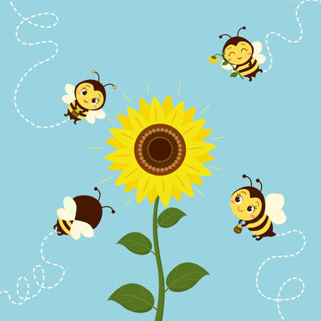 Four cute bees fly to the sunflower to collect nectar. Vector, cartoon style.