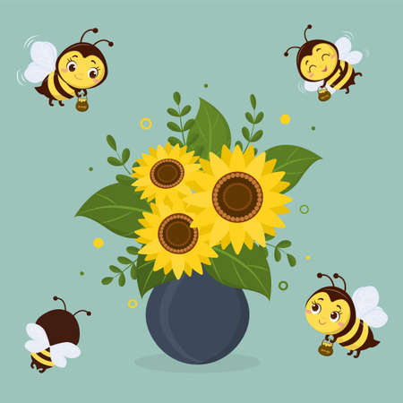 Bouquet of sunflowers in a blue vase and four cute bees on a green background. Vector illustration, cartoon style. Ilustração