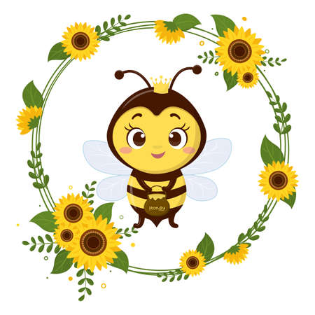 Cute queen bee is holding a pot of honey. Frame from yellow flowers sunflower and leaves. Cartoon style, vector