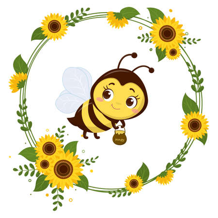 A cute little bee is holding a pot of honey. Frame from yellow flowers of sunflower and leaves. Cartoon style, vector.